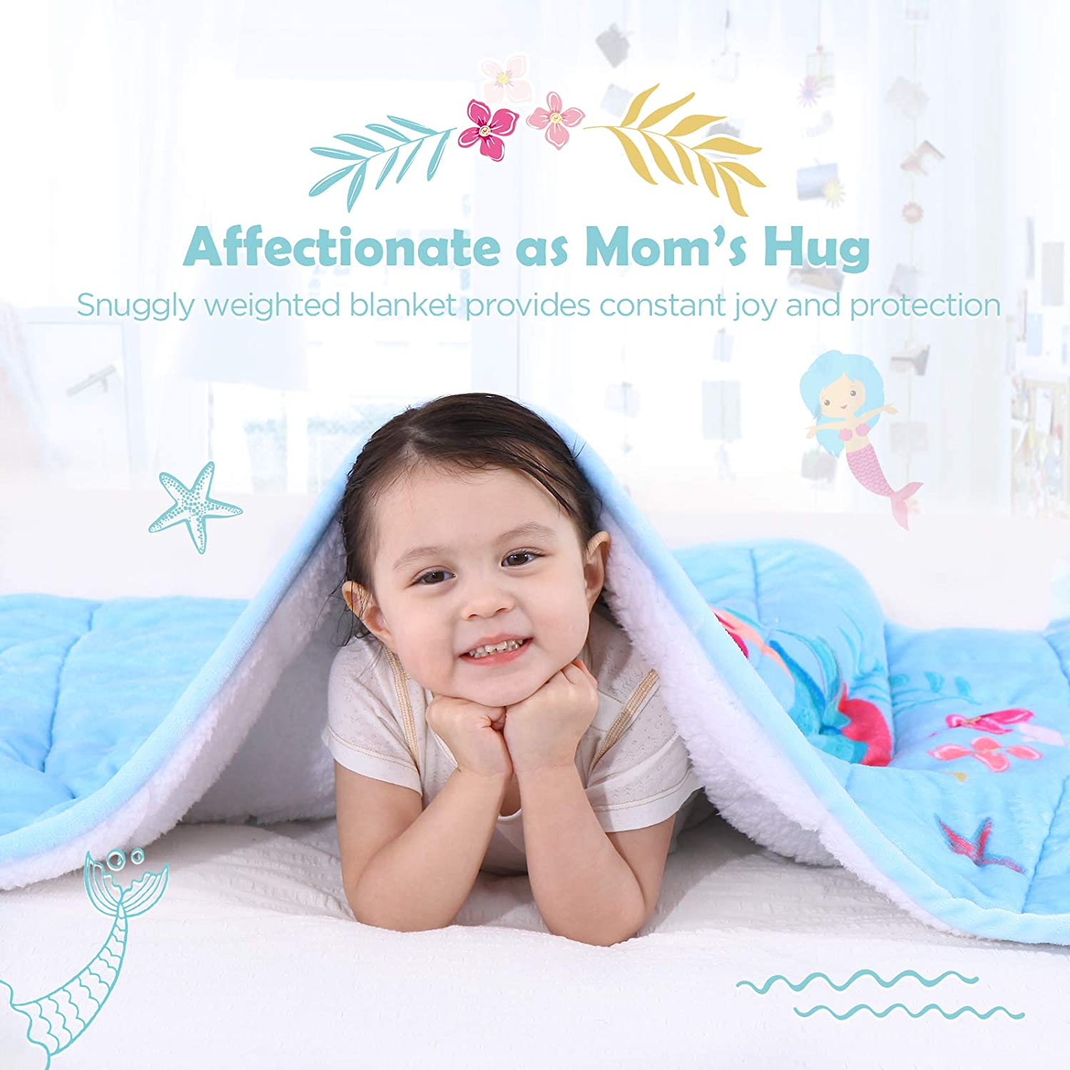 36 x 48 inches Calming Blanket to Help with Peaceful Sleep Topblan Weighted Blanket for Children 3lbs Kids Sherpa Blanket Featuring Whimsical Patterns Pink Mermaid