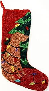 Tangled Lights Yellow Labrador Retriever Dog Hooked Wool Christmas Stocking- Large 21