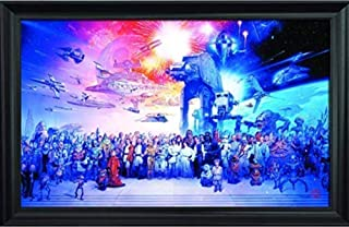 Star Wars Wall Art Decor Framed Print | 36x24 Premium (Canvas/Painting Like) Textured Poster | Vintage Empire Strikes Back Space Movie Fan Picture Artwork | Memorabilia Gifts for Guys & Girls Bedroom
