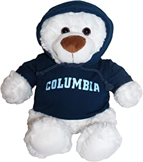 Mascot Factory Columbia University Lions Teddy Bear with Blue Hoodie Sweatshirt 9 Inches Tall, White