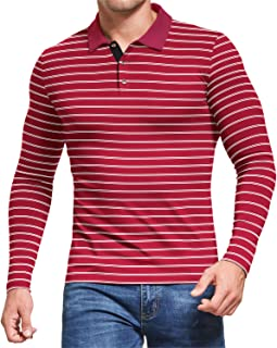MLANM Men's Short/Long Sleeve Stripe Polo Shirts Casual Slim Fit Basic Designed Cotton Shirts