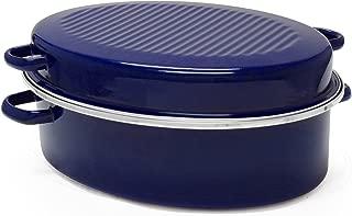 Chantal Enamel-On-Steel 11-Quart Covered Roaster with Stainless Steel Rack, Cobalt Blue
