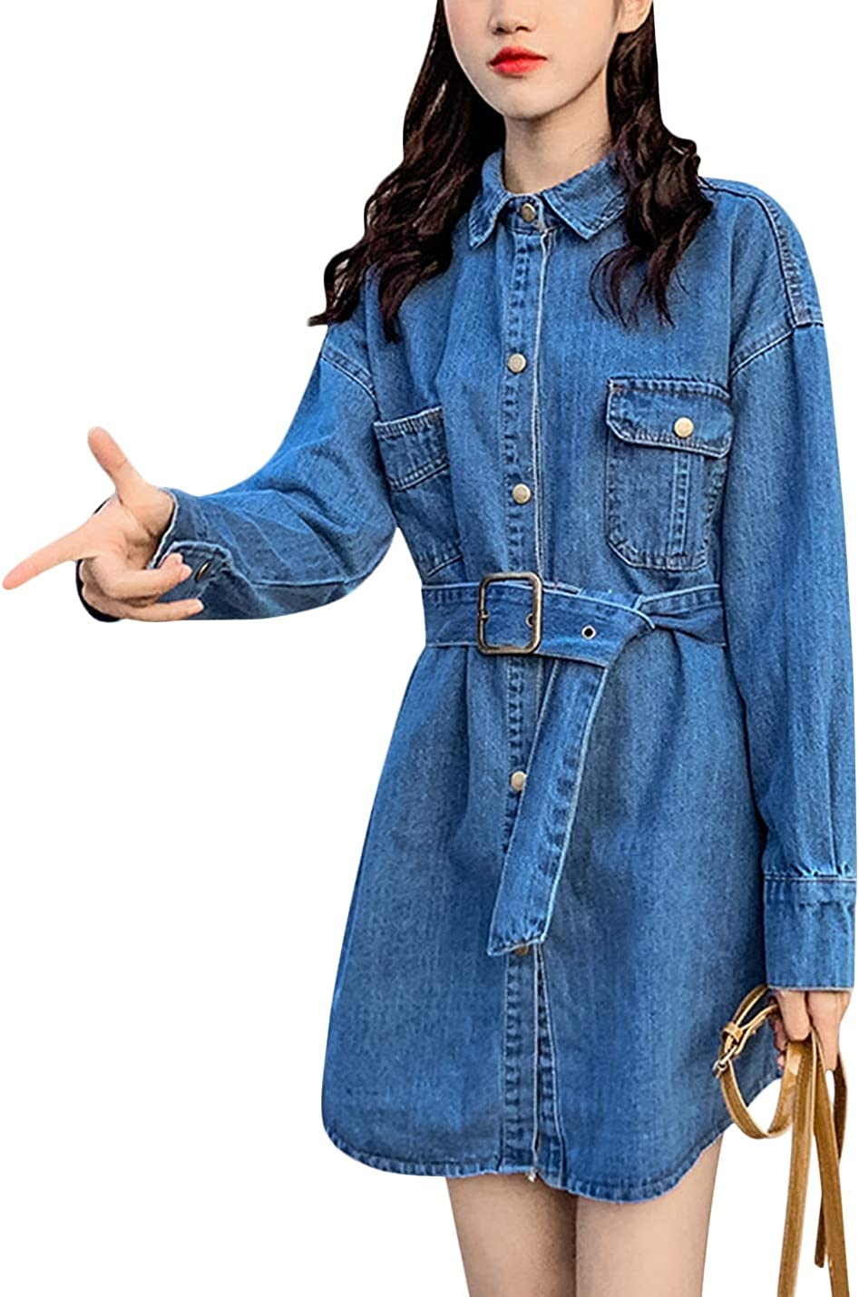 Uaneo Women's Loose Lapel Buttons Up Mid Long Denim Shirt Jacket with Belt (Dark Blue, Medium)