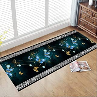 3D Runner Rug for Hallway, Butterfly Pattern Entrance Mat with Non Slip Backing, Extra Long Washable Area Rugs for Hall Ai...