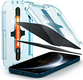 Spigen Tempered Glass Screen Protector [Glas.tR EZ Fit - Privacy] Designed for iPhone 12 Pro Max - 2 Pack