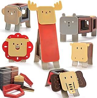 nicknack Animal Bloques de construcción magnéticos, 83PCS Niños 3D Bloques de construcción magnéticos Juegos de juguetes R...