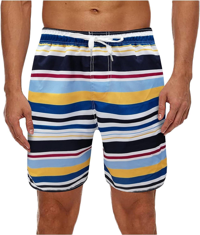Photno Men's Quick-Drying Beach Shorts Summer Casual Fitness Sports Surfing Drawstring Stripe Plus Size Swim Trunks