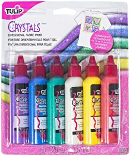 Craft County Non-Toxic, Permanent, Assorted 3D Fabric Paint – 6 Bottles (1 Ounce Each) - Crystals
