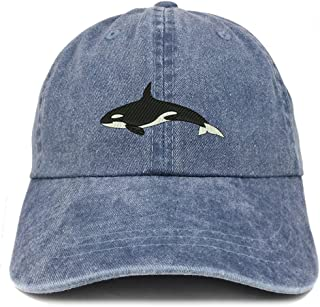 Trendy Apparel Shop Orca Killer Whale Embroidered Pigment Dyed 100% Cotton Cap