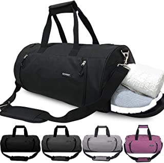 Updated 20'' Sports Gym Bag with Shoes Compartment Wet Pocket Waterproof Travel Duffel Bag for Men and Women (Black)