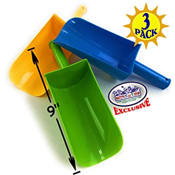 """Matty's Toy Stop 9"""" Kids Short Handle Sand Scoop Plastic Shovels for Sand & Beach (Yellow, Blue & Green) Gift Set Bundle - 3 Pack"""