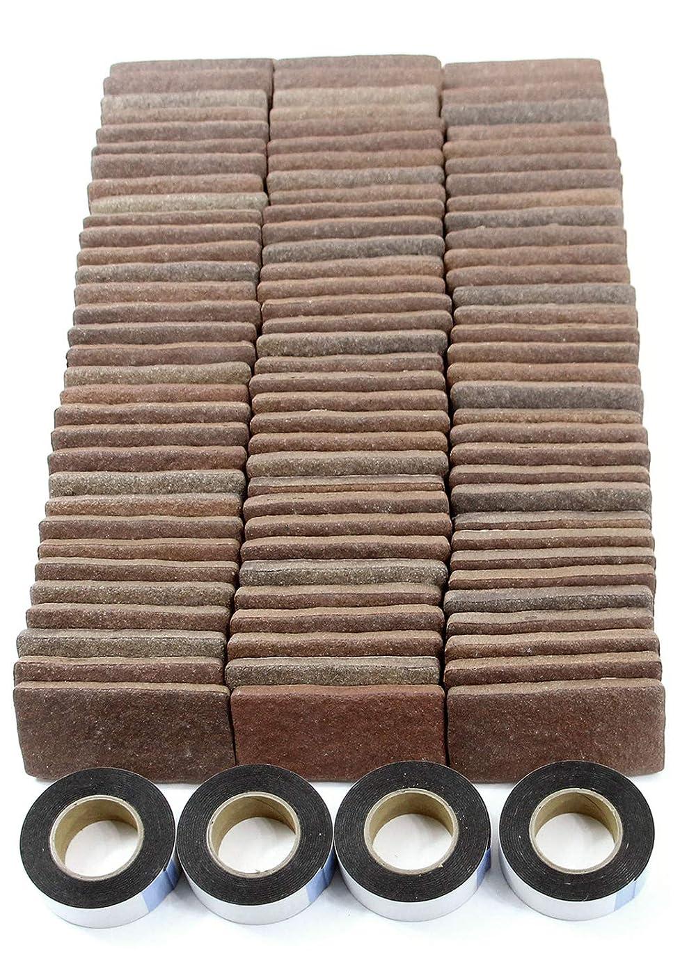 自由クロニクルヒロイックMB-3ダークブラウン 軽量レンガかるかるブリック Sサイズ(ミニサイズ) 100枚入 屋内用両面テープ付