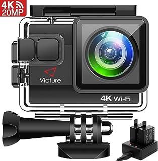 Victure 4K アクションカメラ WiFi搭載 2000万画素 UHD 40M 防水カメラ 2個1050mAh電池 充電器付き タイムラプス動画 手振れ補正 170度広角 レンズ画角調節可能 HDMI出力 複数アクセサリー バイク/自転車/車に取り付け可能