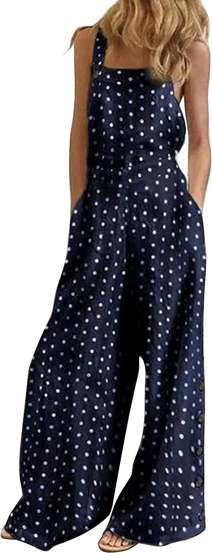 Womens Jumpsuits Overalls Boho Max 71% OFF Suspender Wide Pants Loose Leg Ranking TOP10 Ba