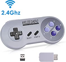 Zarcdo 2.4GHz Wireless Controller for SNES Classic Edition(SNES Mini), Rechargeable Wireless Gamepad with Retro/USB Receiver for Super NES Classic Edition