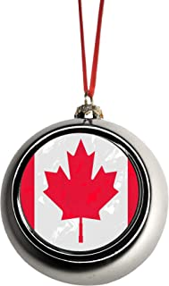 Lea Elliot Inc. Canada Flag Maple Leaf Grunge Bauble Christmas Ornaments Silver Bauble Tree Xmas Balls