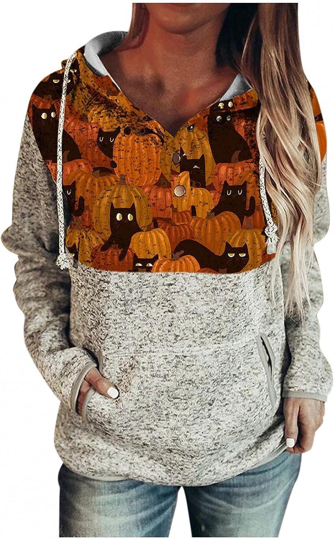 Womens Hoodies,Women's Halloween Pumpkin Bat Print Long Sleeve O-Neck Fall Funny Loose Shirt