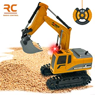 Ziwing Full Functional Remote Control Excavator & Construction Trucks & Tractors & Tank Car Toy with Shovel Arm Claw for Kids Boys Girls or Adults Gifts