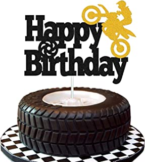 Motorcycle Cake Topper Happy Birthday Sign Scooter Autocycle Autobike Player Cake Decorations for Sport Theme Man Boy Birthday Party Supplies Double Sided Black Sparkle Decor
