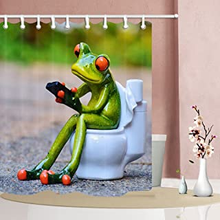 NYMB Funny Animals Shower Curtains, Porcelain Frogs Sat on Toilet Home Decor, Polyester Fabric Shower Curtain Set Fantastic Decorations Bath Curtain, 69X70inches