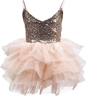 CO-AVE Sleeveless Tutu Dress for Girls Sequin Dress with Tiered Skirt for Birthday Wedding Church Special Occasion