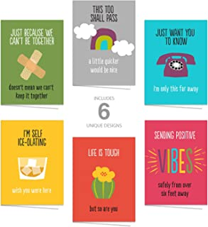 """Motivational Quarantine Greeting Cards/Set of 12 5""""x7"""" Day Brightening Cards/Bright Encouraging Cards for COVID-19"""