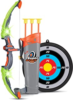 Liberty Imports Light Up Archery Bow and Arrow Toy Set for Girls with 3 Suction Cup Arrows, Target, and Quiver