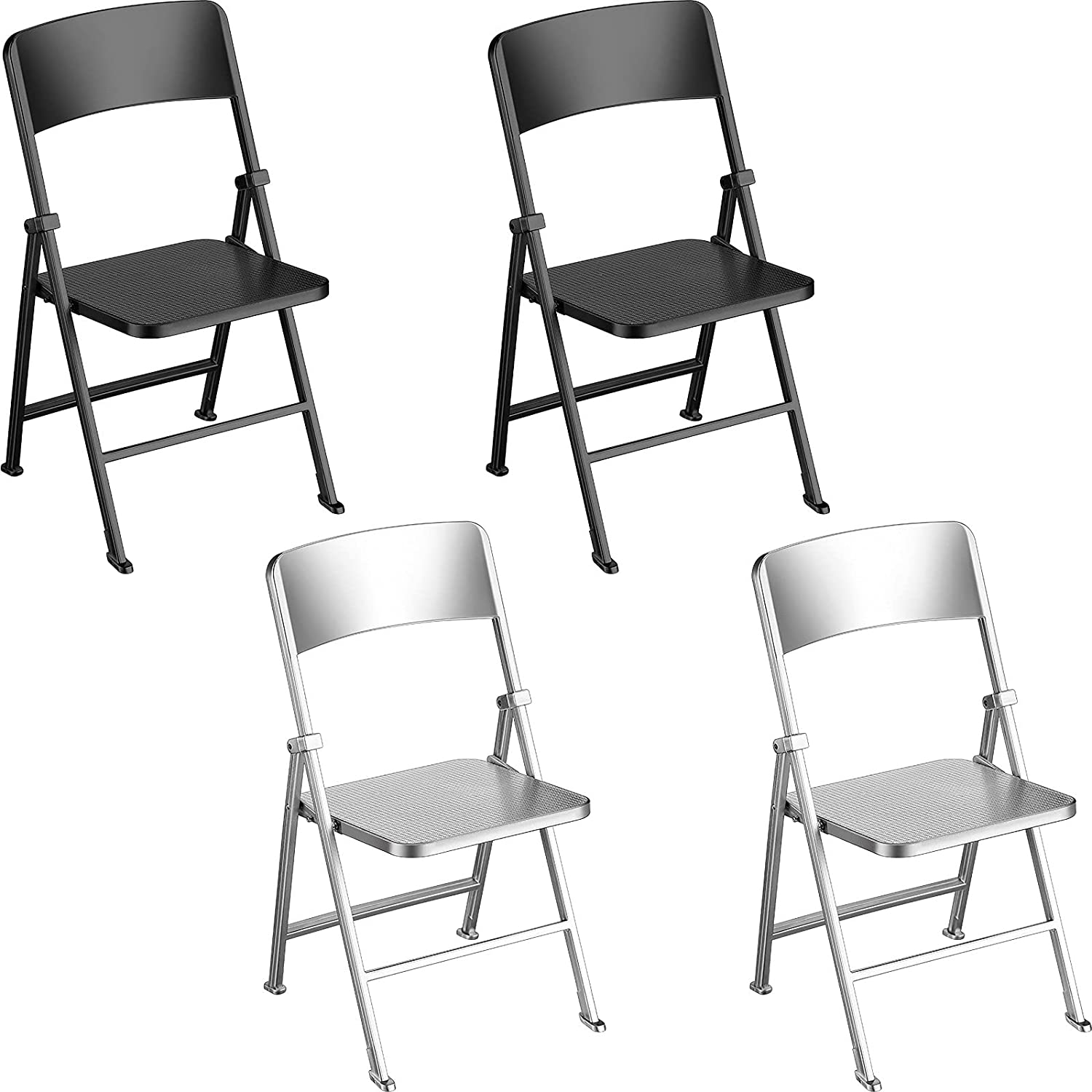 4 Pieces Dolls Folding Chair 1/6 Scale Foldable Chair Model DollHouse Miniature Furniture Accessory Folding Chair for Dolls Action Figure, Boys Girls Toy Doll House DIY, Pretend Play, Black and White