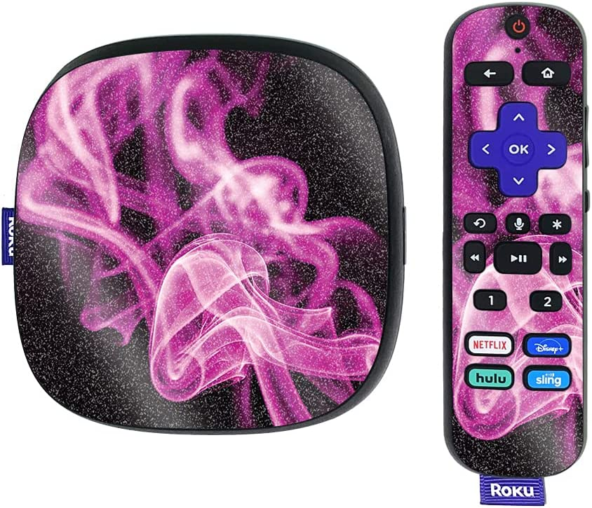 MightySkins Glossy Glitter Skin Compatible with Roku Ultra HDR 4K Streaming Media Player (2020) - Pink Flames | Protective, Durable High-Gloss Glitter Finish | Easy to Apply | Made in The USA