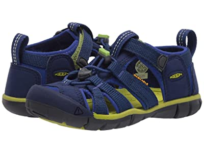 KEEN Kids Seacamp II CNX (Toddler/Little Kid) (Blue Depths/Chartreuse) Boys Shoes