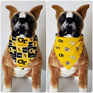 Reversible Bandana, Made With Georgia Tech University Fabric, Yellow Jackets, Football, Scarf, Dog, Cat, Pet, Slip On Over The Collar, (Does Not Tie) 2 in one