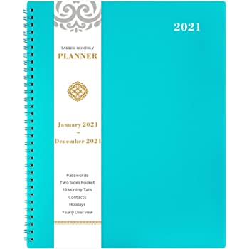 "2021 Monthly Planner - 12-Month Planner with Tabs, Pocket, Label, Contacts and Passwords, 8.5"" x 11"", Jan. - Dec. 2021, Twin-Wire Binding - Teal by Artfan"