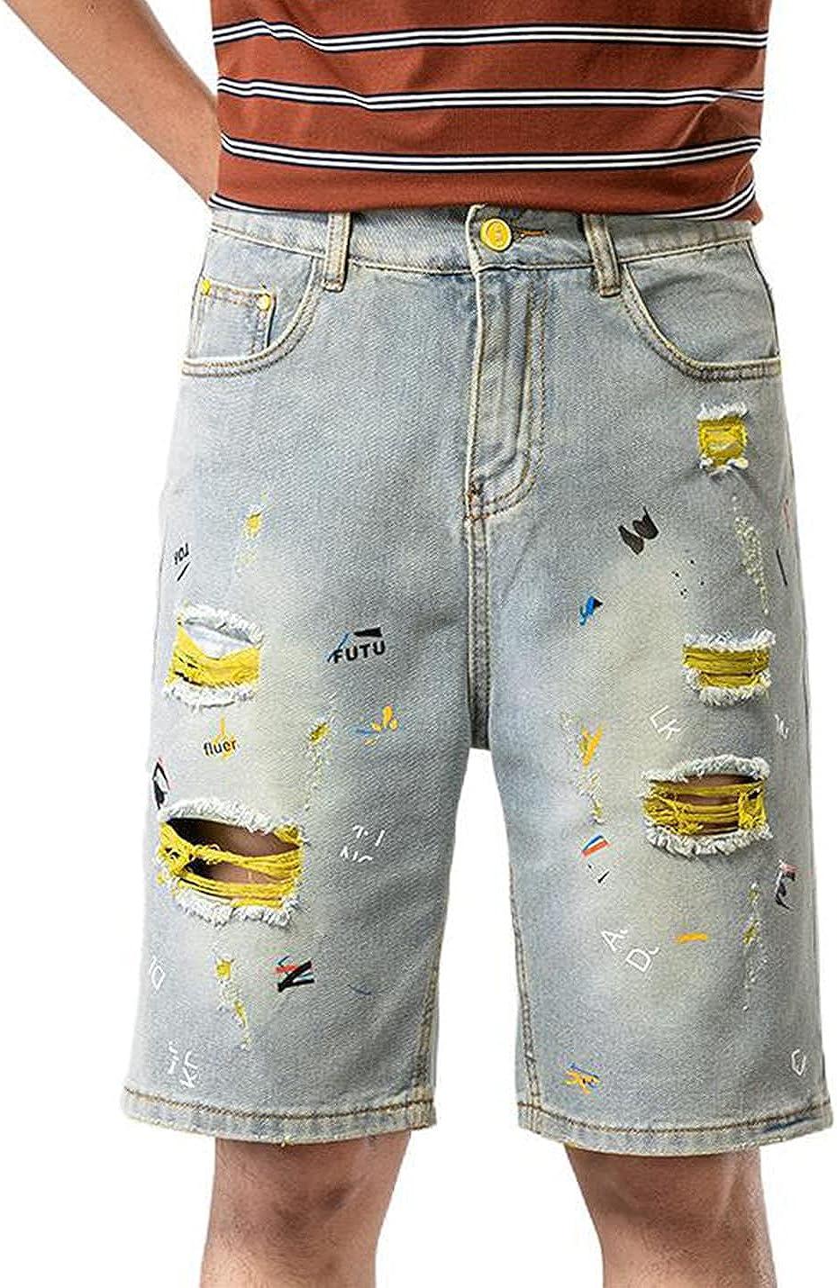 PAODIKUAI Men Ripped Distrssed Jean Shorts Skinny Denim Shorts with Broken Hole