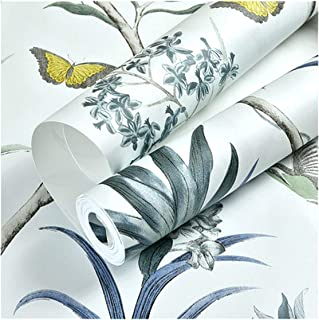 Chinoiserie Wallpaper Bedroom Wall Covering Modern Vintage Pink Floral Wallpaper Blue Tropical Butterfly Birds Flower Wall Paper,Wp44303 Blue,10Mx53Cm