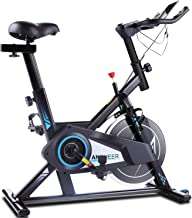 ANCHEER Exercise Spin Bike with Belt Driven Flywheel, Quiet & Smooth, Stationary Indoor Cycling Bike for Home Training, Cardio Workout & Fitness, with Adjustable Resistance, Seat & Handlebars