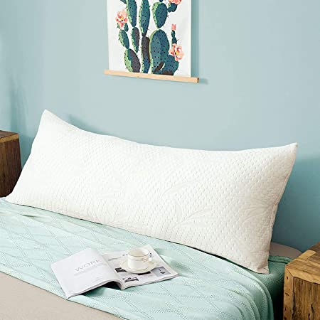 Decroom Full Body Pillow -Zipped Bamboo Cover-Breathable Cooling for Pregnancy and Long Side Sleeper-20 x 54 inch