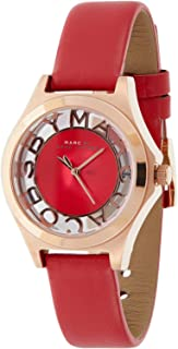 Marc by Marc Jacobs Women's Red Dial Leather Band Watch - MBM1338