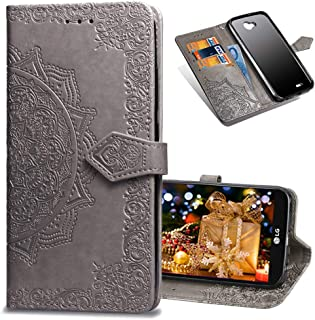 COTDINFORCA LG Fiesta 2 Wallet Case, Slim Premium PU Flip Cover Mandala Embossed Full Body Protection with Card Holder Magnetic Closure for LG XPower 2 / LG X Charge. SD Mandala - Gray