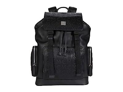 MCM Brandenburg Monogram Leather Backpack Medium (Black) Backpack Bags