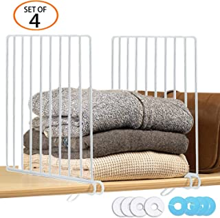 GIEMSON 4 Pack Metal Shelf Divider with 8 Clothing Size Dividers Round Hangers Closet Dividers(White)