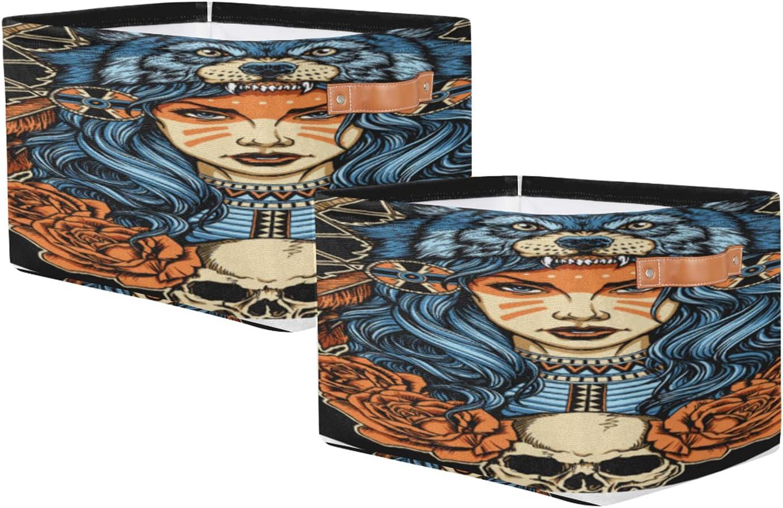 Storage Award-winning store Basket Set of 2 Sugar Skull Toy Rectangular Girl Storag Credence