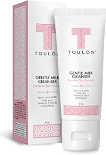 Gentle Milk Cleanser: Face Wash for Dry & Sensitive Skin; Mild Facial Cleanser with AHA, Lactic Acid, Aloe Vera & Antioxidants for Women