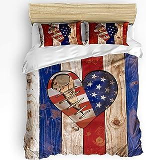 LnimioAOX Juego de Ropa de Cama de 3 Piezas, Juego de Funda nórdica Bandera Americana Vintage con 2 Fundas de Almohada Decorativas, Colcha, Tablero de Madera Retro Steampunk