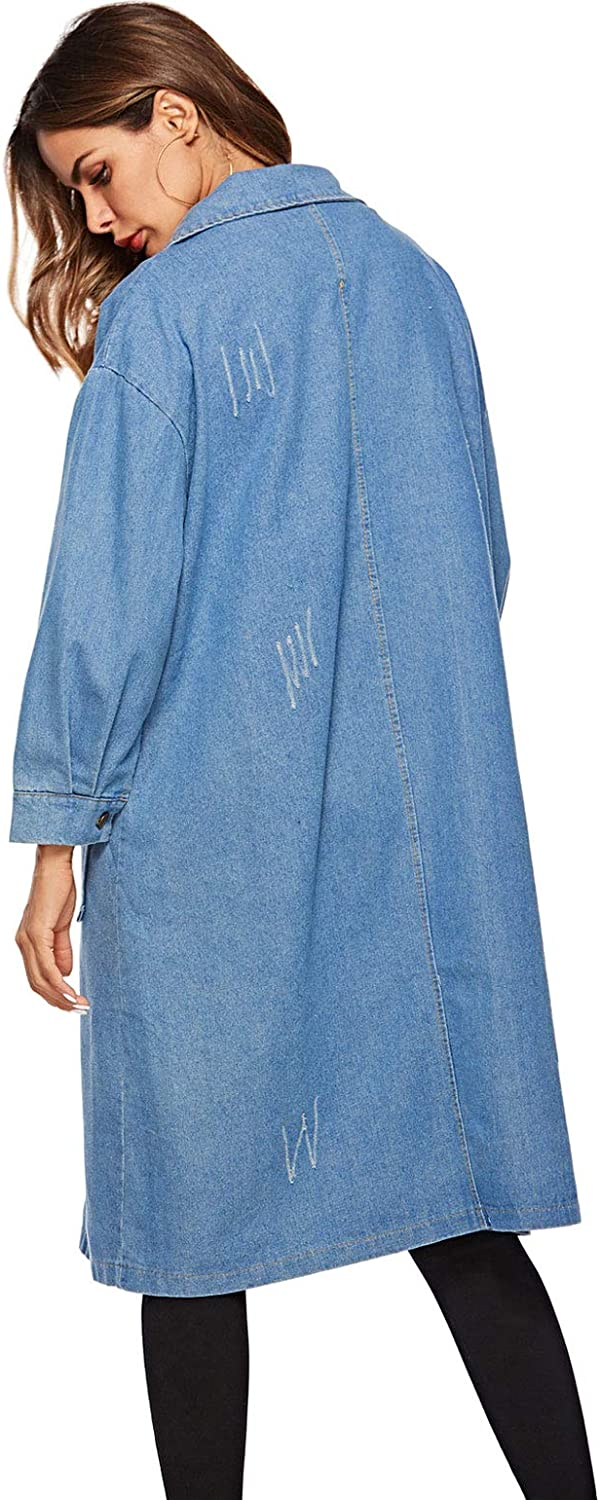 ebossy Women's Loose Fit Button Down Distressed Long Denim Jacket Trench Coat Flap Pocket
