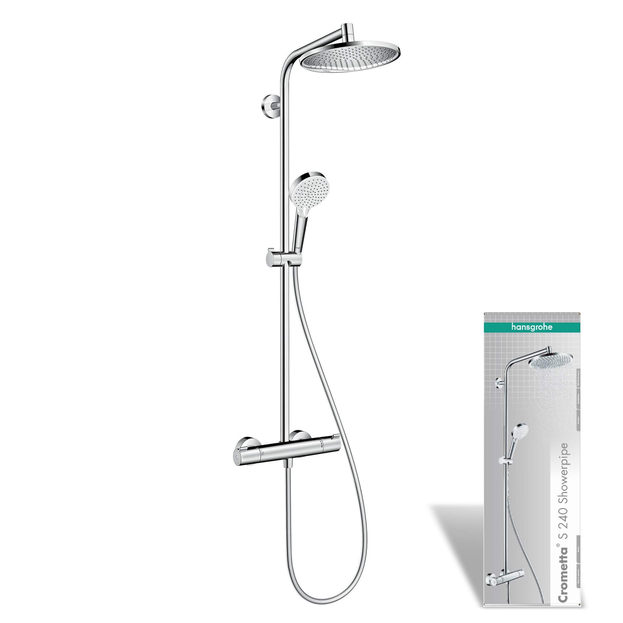 Termostatica doccia Argento Hansgrohe 27267000 Crometta S 240 1Jet Showerpipe