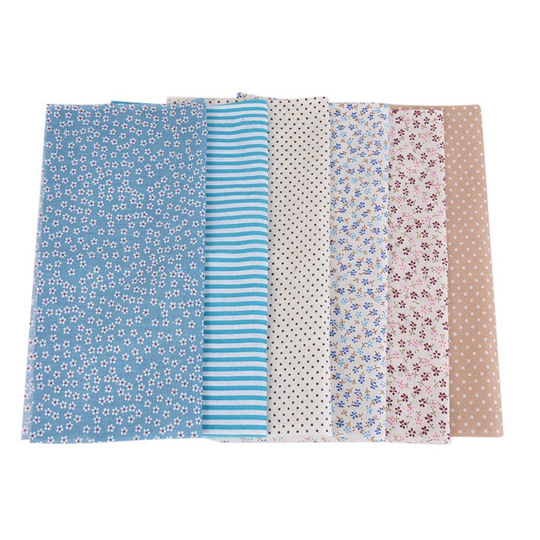 Juego de 6 telas de algodón de Shujin, por metros, para coser, patchwork, de algodón, para manualidades, 25 cm x 25 cm, algodón, azul, 25*25cm: Shujin: Amazon.es: Hogar