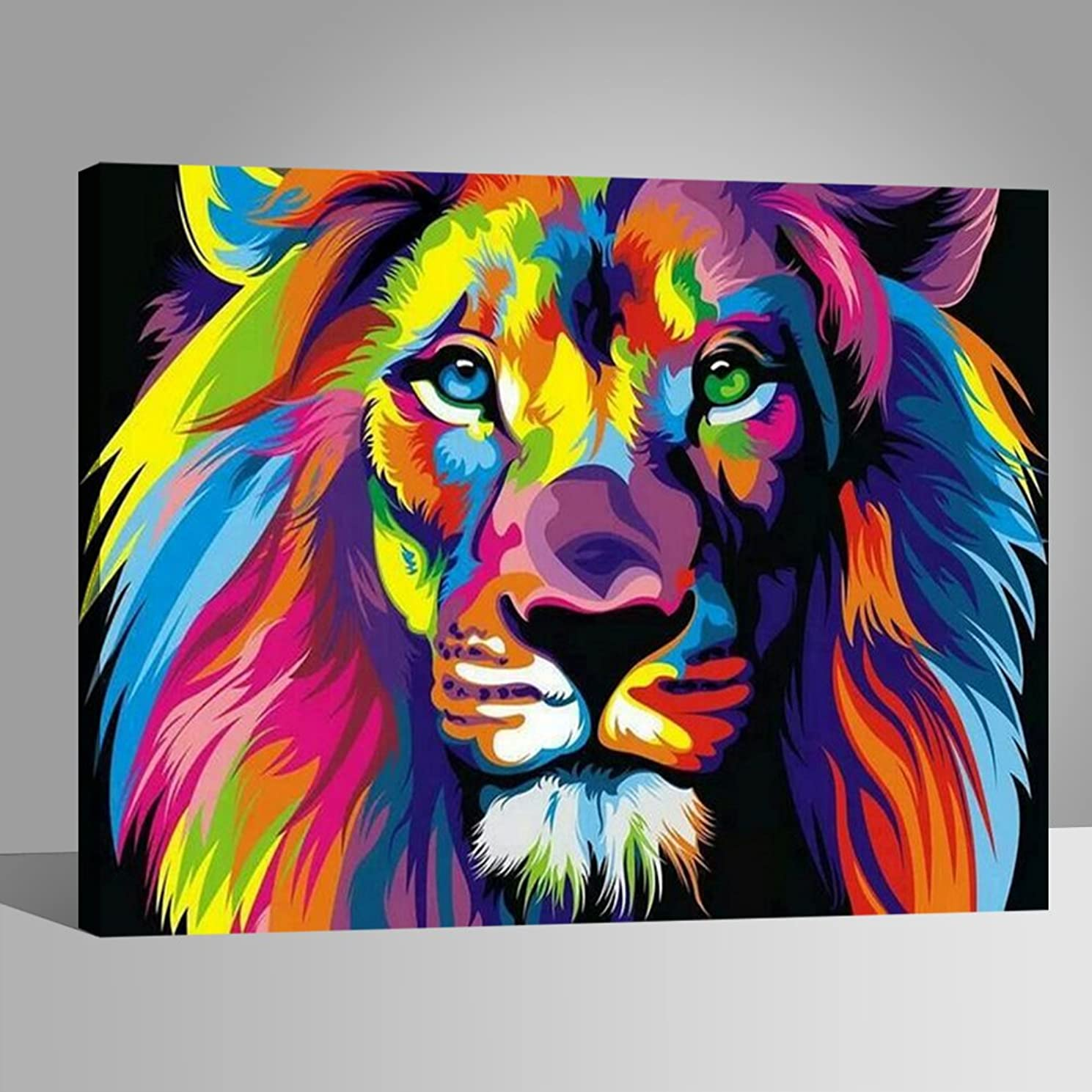 LIUDAO DIY Oil Painting Paint by Number for Kids and Adults Colorful Lion 16x20 Inches Wooden Frame