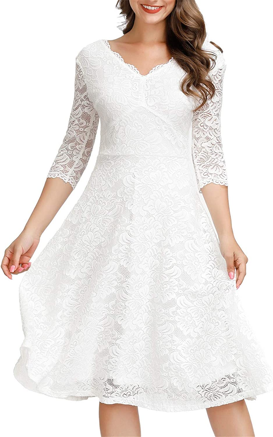 JASAMBAC Cocktail Dress for Women Vintage Wedding Guest Lace Midi Dress Party