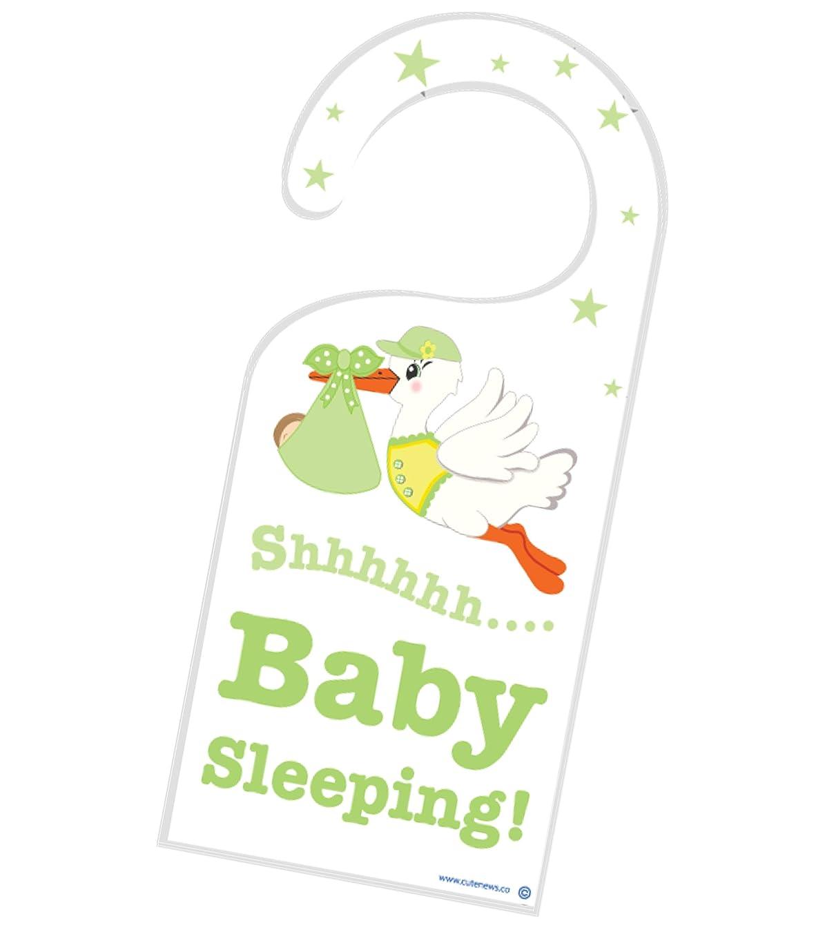 Shh New Baby is Sleeping Door Hanger - Unisex Nursery Room Newborn Sign - Green - Great Shower Expecting Gift