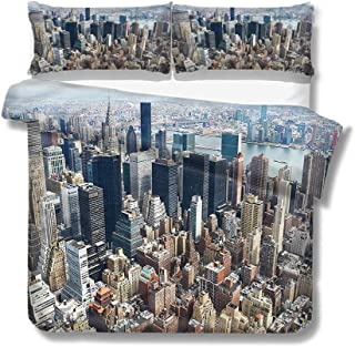 Mademai King Size Duvet Cover Set Urban,Manhattan New York Cityscape for Kids/Teens/Adults Hidden Zipper Quilt Cover Printed